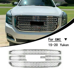 Chrome Grille Overlay Covers Inserts Snap On Grill Fits 15-20 Gmc Yukon Xl New