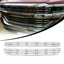 Snap On Grille Overlay Cover Inserts Chrome For 16-18 Chevy Silverado 1500 New