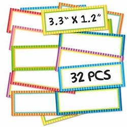 32 Pcs Magnetic Dry Erase Labels, Magnetic Name Tags Plates Reusable Dry