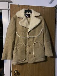 Wiman Mens Coat Faux Shearling Heavy Button Up Jacket Size S But Big Made Usa