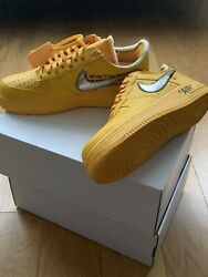"""Nike X Off-white Air Force 1 Low University Gold """"lemonade"""" """"ica"""" Size 10"""
