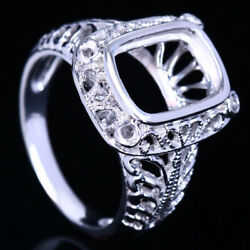 Antique Jewellery 11x8mm Cushion Cut Semi Mount Solitaire Ring 10k White Gold