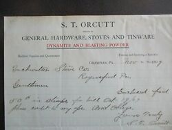 1909 Dynamite And Blasting Powder S.t. Orcutt Signed Grampian,pa.,letter
