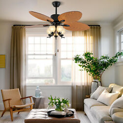 52quot; Tropical Ceiling Fan Light Pull Chain Palm Leaf Blades W Remote Bedroom