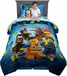 LEGO Twin Bedding Sheet Set with Comforter and Cuddle Pillow 5 PC Set for Kids