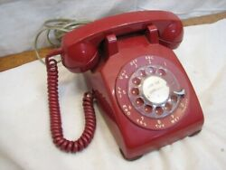 Bell System Western Electric C/d 500 Red Art Deco Rotary Phone Desk Telephone