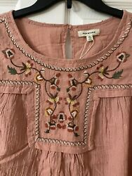 Max Studio Boho Heavily Embroidered Swiss Dot Top Pink Size: XL