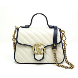 Gg Marmont Mini Top Handle Bag 583571 White Leather /dark Blue/gold