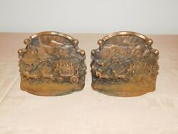Vintage Pair Seville Studios Horses Stagecoach Coaching Days Metal Bookends