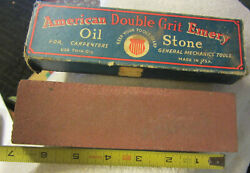 Vintage American Emery Double Grit Combination Oil Sharpening Stone In Box