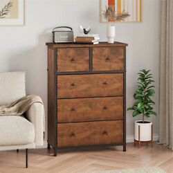 Used Dresser With 5 Drawers Wood Top And Side Panel Easy Pull Handle Storage