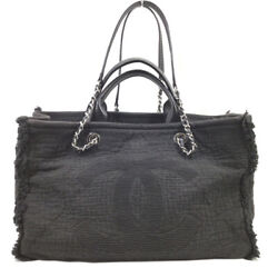 2way Handbags A57180 Cotton/ Leather Black Silver Fittings