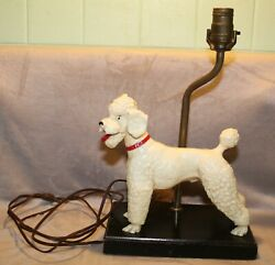 1960#x27;s USED BREYER RARE GLOSSY WHITE POODLE DOG LAMP LIGHT WORKS