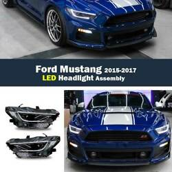 Led Headlamps Assembly Streamer Day Running Light 2x For Ford Mustang 2015-2017