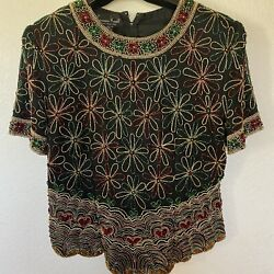 Laurence Kazar Floral Hand Made Silk Multicolored Beaded Evening Blouse Size L