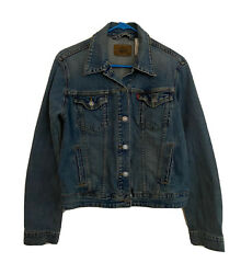 Vintage Womenand039s Levi Strauss And Co. Faded Blue Denim Jacket Size Large O10