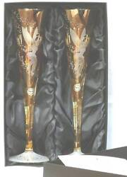 Retired Disney Tinker Bell Set Of 2 Etched Bohemia Crystal Flutes Le New In Box