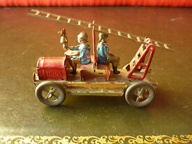 scarce tin penny toy fire ladder engine
