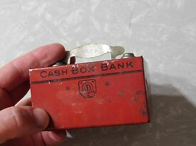 very old red tin cash box bank j co made in