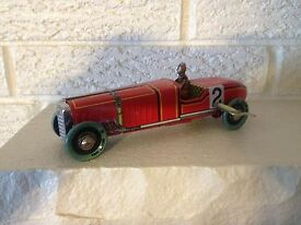 red race car number 2 tin litho wind up