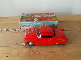 1950 60 red chevrolet chevy bel air tin