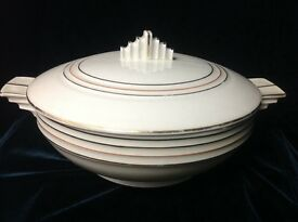 czech white porcelain covered serving dish