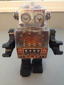 vintage metal tin battery operated toy robot
