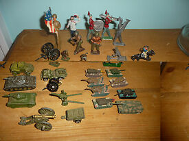 lot cast iron lead toy soldiers vehicles