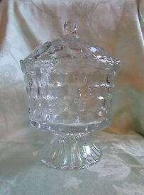 vtg stamped homco clear cube pattern footed