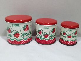 vintage child tin toy strawberry canisters
