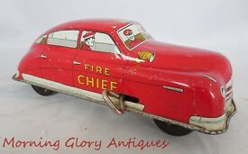 vintage tin wind up fire chief car