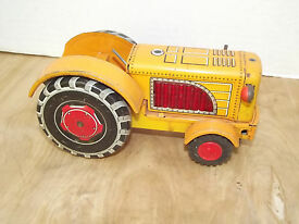 vintage tin toy friction sparking tractor tn