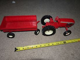 antique toy farm tractor and trailer ertl