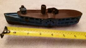 vintage cast iron riverboat steam boat toy