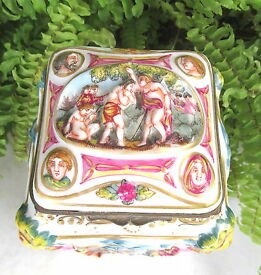 lovely antique capodimonte scenic jewelry or