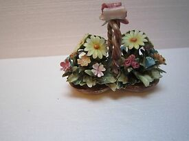 vintage capodimonte flower basket with