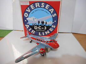 tole tin toy dc 3 overseas airline schylling