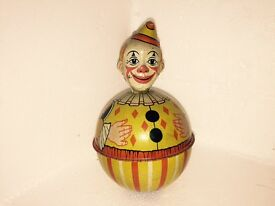 vintage 1930 s roly poly clown tin toy vg
