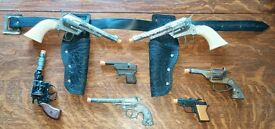 lot 7 vintage working cast cap toy gun