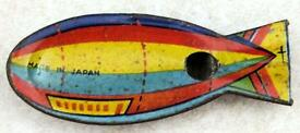 vintage tinplate whistle airship zeppelin