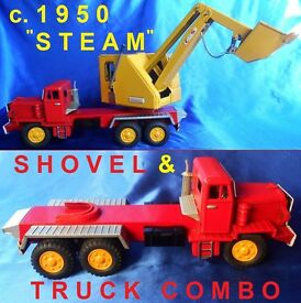 1950 japan operating tin toy steam shovel 10