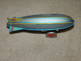vintage tin litho wind up toy zeppelin blimp