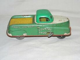 vintage tin lithograph wind up toy truck toy