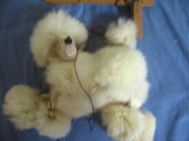 vintage puppet hand painted wood poodle w
