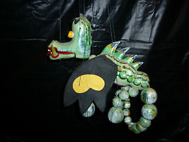 vintage marionette puppet green dragon from