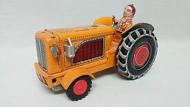 vintage farm tractor w driver japan tin