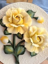 franklin mint yellow roses of plate limited