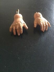 old wood hands 19th doll 2 mains automate