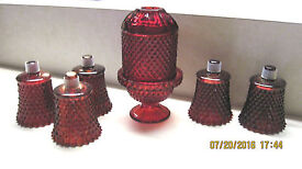 vintage ruby red cut glass candle holder