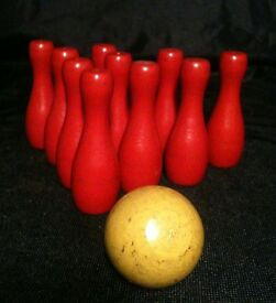 vintage miniature with 10 wooden pins 1